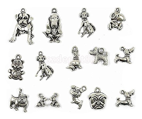 15pcs Mixed Dog Antique Tibetan Silver Charms Pendants Jewelry Findings