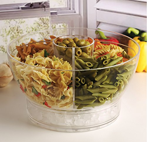 (Circleware 10042 Acrylic Cold Bowl Salad Dessert Food Set with Ice Tray Dish 4 Way Divider & Dip Cup, Serving Utensils and Dome Lid Included, 12