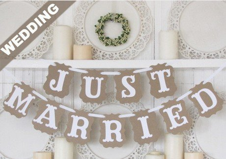 Vintage Just Married Wedding Bunting Banner Western Decoration