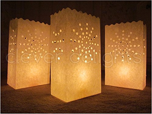 CleverDelights White Luminary Bags - 100 Count - Sunburst Design - Wedding, Reception, Party and Event Decor - Flame Resistant Paper - -