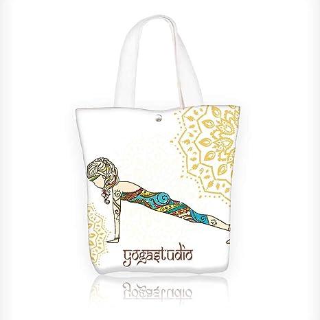 Amazon.com: Canvas Shoulder Hand Bag Yoga Tote Bag for Women ...