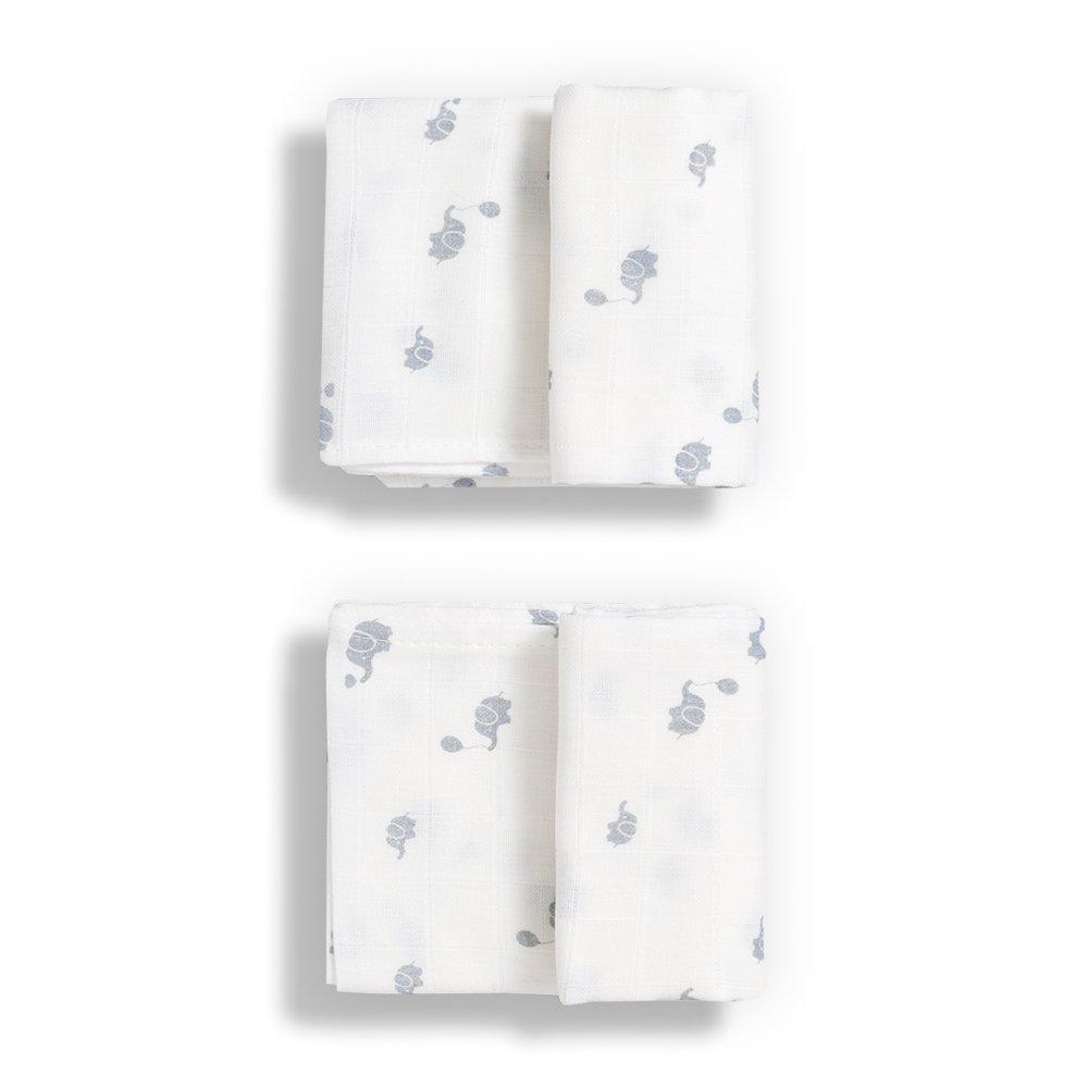 Gloop Paño de muselina para Cuidado del bebé, Algodón Orgánico tradicional (2unidades), color blanco Gloop Baby Care GOPFN008