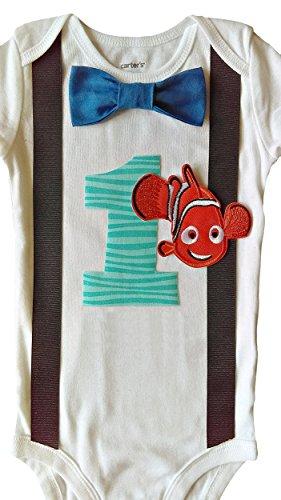 Nemo Outfit (Baby Boys 1st Birthday Nemo Bodysuit Aqua)