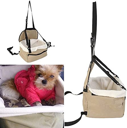 lamta1k Pet Backpack Soft Pet Dog Puppy Cat Kitty Car Seat Booster Seat Carrier Car Leash Bag