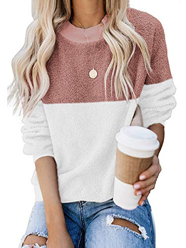 ANRABESS Women Casual Round Neck Long Sleeve Colorblock Sherpa Fleece Pullover Coat Tops 1A0hongbai-S