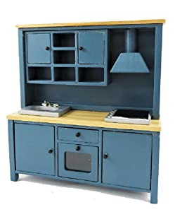 Melody Jane Dollhouse Complete Modern Kitchen Unit with Sink Oven & Hob Blue & Pine