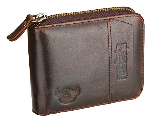 Admetus Cowhide Leather zipper credit card ID Wallet Father Man Friend gifts (Cowhide Leather Business Card)