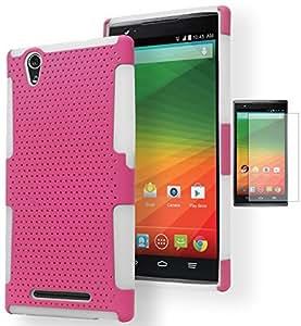 ZTE Zmax Case, Bastex Heavy Duty Hybrid Soft White Silicone Hard Pink Mesh Design Case for ZTE Zmax Z970 {Includes Screen Protector}