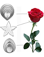 DOOGA 11pcs/set Stainless Steel Rose Petal Cake Cookie Cutter Mold Pastry Baking Mould (rose)