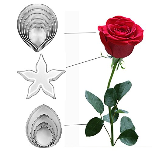 DOOGA 11pcs/set Stainless Steel Rose Petal Cake Cookie Cutter Mold Pastry Baking Mould ()
