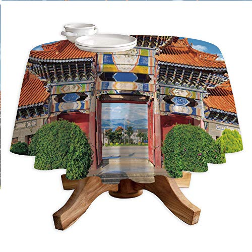 Ancient China Decorations Round Polyester Tablecloth,Entrance of Chinese Temple Colorful Arch Clear Day in Dali Yunnan Decorative,Dining Room Kitchen Round Table Cover,42