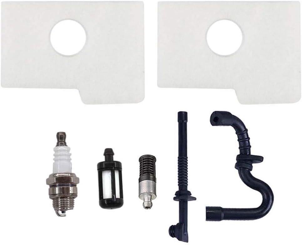 AISEN Lot de 2 filtres /à air avec filtre /à essence et bougie dallumage pour tron/çonneuse Stihl 017 018 MS170 MS180 MS180C MS 170 180 Tron/çonneuse