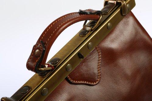 Bags4Less Damenhandtasche Bowlingbag Modell: Hebamme in Leder Vintage Arztkoffer Tasche Shopper braun