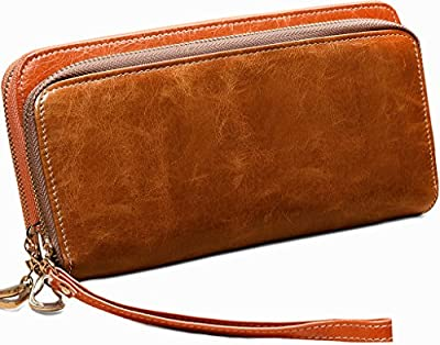Yahoho Women's Double Zipper Around Waxy Genuine Leather Organizer Wallet Coin Case Phone Card Holder