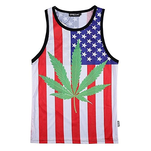 Hipster Tank Tops Men's Weed 3D Print Clothing Vest Tee jersey Shirt