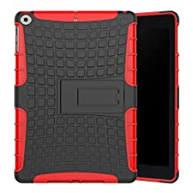 iPad 9.7 Inch 2017 Case Armor DWaybox 2 in 1 Combo Hybrid Rugged Heavy Duty Hard Back Cover Case with Kickstand for Apple New iPad 9.7 Inch 2017 A1822 / A1823 / iPad Air / iPad 5 (Red)