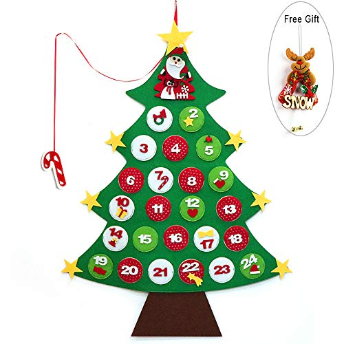 Felt Christmas Tree, ZALALOVA DIY Christmas Tree Advent Calendars with a Free Reindeer Hanging Ornament 24 Day Countdown to Xmas Gift for Wall Door Christmas Decoration