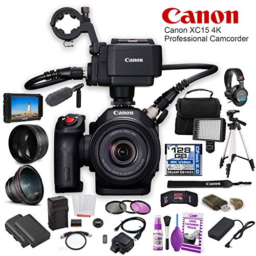 - Canon XC15 4K Professional Camcorder (1456C002) W/ 64GB Memory Card, Bag, Extra Battery and Charger, Tripod, Led Light, Sony Headphones, Mic, and External Monitor