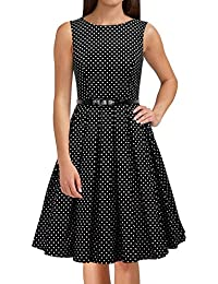 Women's Vintage 1950s Sleeveless Dress with Boat Neck...