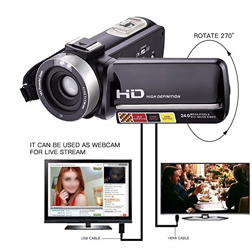 KINGEAR Night Vision Video Camera,HDV-301M 1080P 16X Digital Zoom 3 Inch Touch Screen Portable LCD HDV Video Camcorder With Microphone
