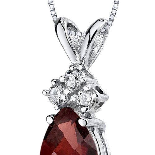 14 Karat White Gold Pear Shape 1.00 Carats Garnet Diamond Pendant