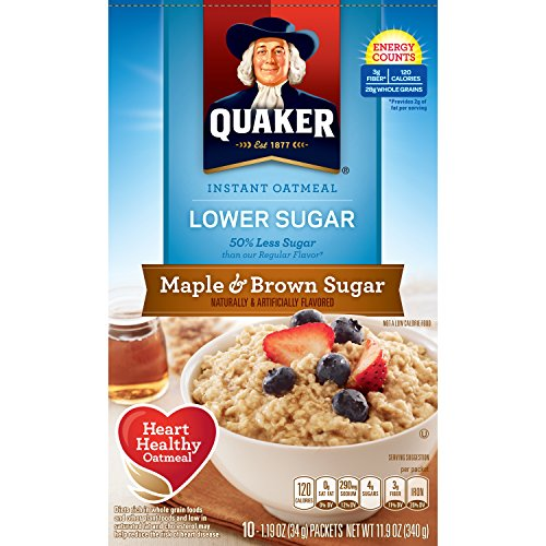Oatmeal Instant Maple (Quaker Instant Oatmeal, Lower Sugar, Maple & Brown Sugar, Breakfast Cereal, 10 Packets)