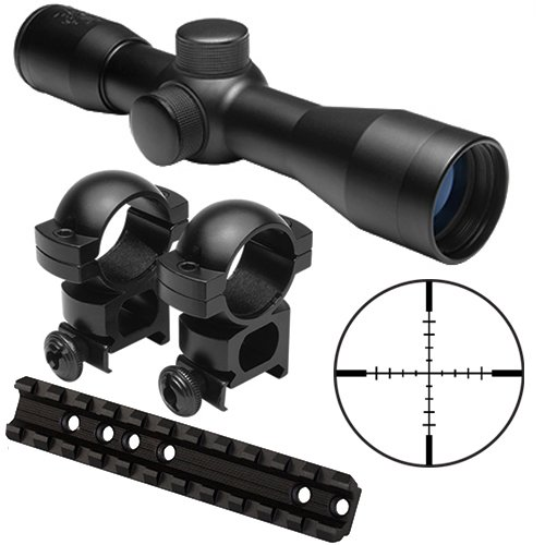 M1SURPLUS Tactical Kit With 4x30 Compact Rifle Scope + Scope Ring Mounts + Weaver Style Scope Mount Rail Fits Marlin 992M, 989, .22, 9, 45, 30AS, 30AW, 36, 62, 93, 336, 336C, 375, 444, 1993, 1894 Cowboy, 1895, Mossberg 640, Western Field 740, Glenfield 30, Zane Grey Rifles And Camp 9mm .40.45 Carbine (Mounts Mossberg Scope)