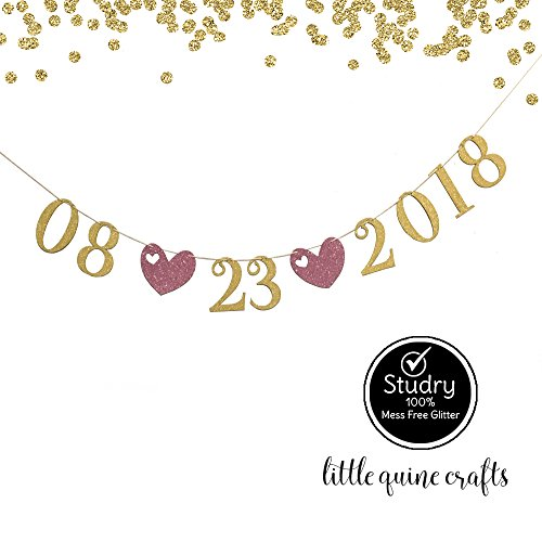 1 pc SAVE THE DATE Custom Date Gold & Pink Glitter Banner for Bachelorette Party Wedding Shower Decoration ()