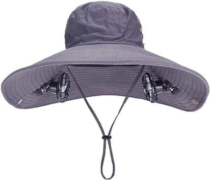 ANHPI Doble Solar Sombrero del Ventilador Masculino Verano al Aire Libre Protector Solar Anti-Ultravioleta Grandes Aleros Respirable Sombra Tapa de Pescador Casquillo de los Deportes, 4 Colores: Amazon.es: Deportes y aire libre