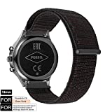 YOOSIDE Watch Band for Fossil Q Venture,18mm Quick Release Soft Breathable Nylon Loop Sport Watch Band Strap for Fossil Q Gen 3 Venture,Gen4 Venture/Venture HR,Ticwatch C2 Rose Gold (Black)
