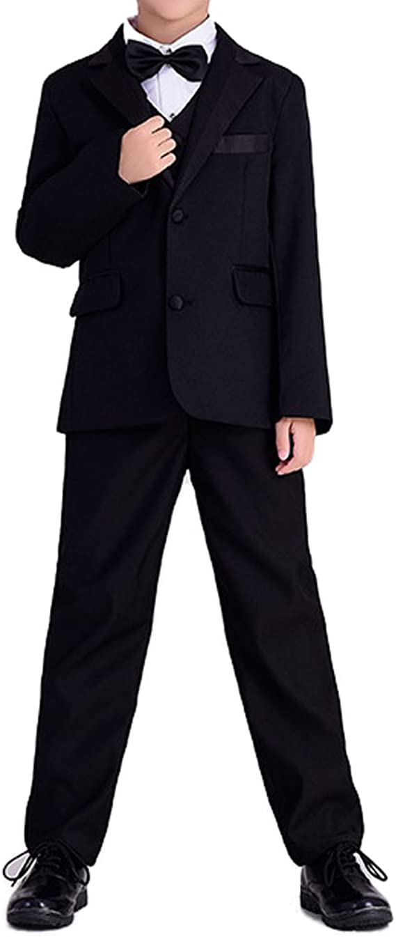 Amazon.com: yufan Boys Blanco/Negro 5 piezas formal esmoquin ...