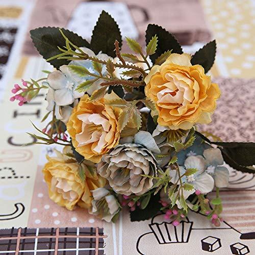 Barley33 Flores Artificiales de Seda Vintage Arreglos de Rosas Falsas de Bricolaje Ramos de Boda Decoraciones de Mesa para el hogar Cocina Jardin