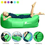Inflatable Lounger Air Sofa Pouch Inflatable Couch Air Chair Hammock with Pillow Portable Waterproof Anti-Air Leaking for Outdoor Camping Hiking Travel Pool Beach Picnic Backyard Lakeside ( Green )