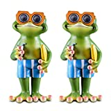 Frog Solar Garden Decorations Figurine | Outdoor LED Decor Figure | Light Up Accents for Yard, Patio, Lawn, Balcony, or Deck | Weather Resistant Decorative Statue | Housewarming Gift Idea - 2 Pack