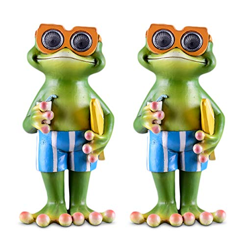Frog Solar Garden Decorations Figurine | Outdoor LED Decor Figure | Light Up Accents for Yard, Patio, Lawn, Balcony, or Deck | Weather Resistant Decorative Statue | Housewarming Gift Idea ()