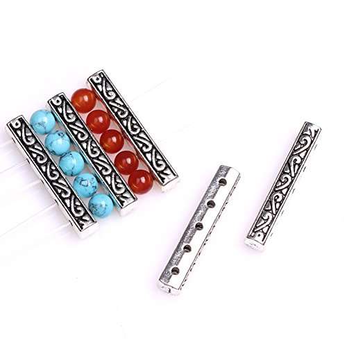 (GEM-inside Bali Style Metal Antique Tibetan Silver Findings Jewelry Making Beads Spacer Bars)