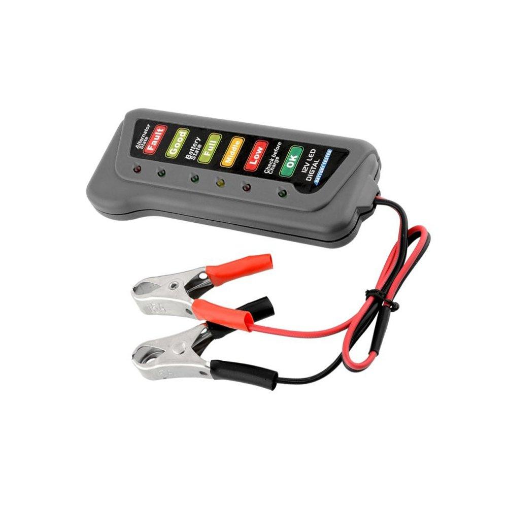 12V Car Motorcycle Battery Alternator Tester with 6 LED Lights Display Car Vehicle Battery Testing Tool Automarketbiz