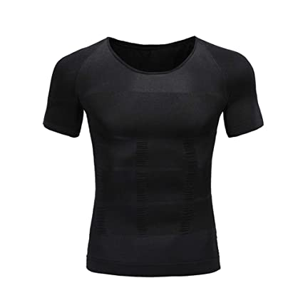 797b3d48e7d94 QQA Male Compression Body Shaper Fast Dry Shirt Absorb Sweat Invisible  Underwear Corset Nylon Fabric