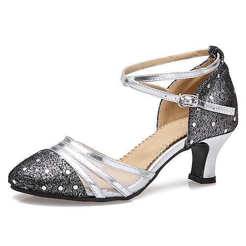 T.T-Q Moderne Frauen Low Heel Leder Tüll mit Strass Tanzschuhe (Weitere Farben) Gold