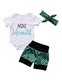 Baby Girls MINI Mermaid Bodysuit + Shorts + Headband Set