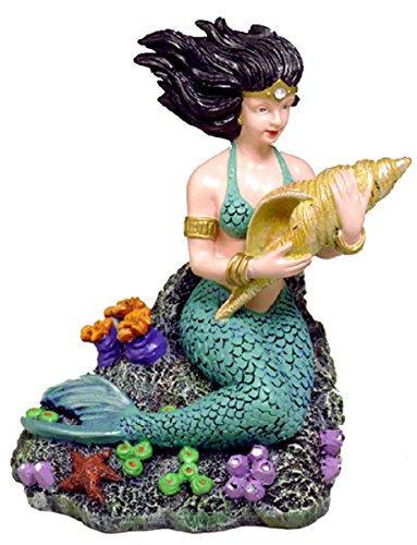 Blue Ribbon EE-501 Pet Products Exotic Environments Mermaid with Sea Shell Aquarium Ornament, Large