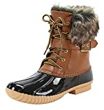 Nature Breeze Duck-01 Women Stitching Lace Up Side Zip Waterproof Insulated Boot , Mve Shoes Duck-01 Tan Size 10 | amazon.com