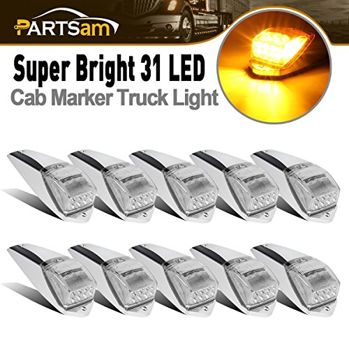 - Partsam 10pcs Bright Clear Lens Yellow 31 LED Cab Roof Running Marker Top Lights w/Chrome Base Replacement for Kenworth Peterbilt Freightliner Western Star Volvo International Mack Paccar