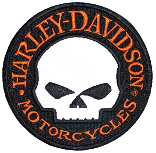 - Harley-Davidson Reflective Patch, Willie G. Skull Hubcap Emblem, Small EM1029642
