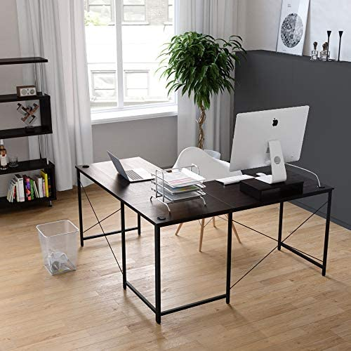 Bestier L-shaped computer desk, 95.5 Two Person Large Gaming Office Desk, Adjustable L-Shaped or Long Desk Two Method with Free Monitor Stand, Home Writing Desk Table Build-in Cable Management Brown