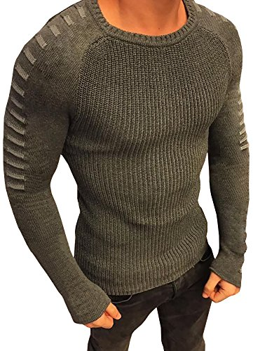 Karlywindow Men's Casual Solid Slim Fit Light Weight Stylish Knit Pullover Sweater