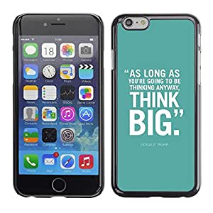 FlareStar Colour Printing Mint Green Think Big Inspiring Text Poster cáscara Funda Case Caso de plástico para Apple (5.5 inches!!!) iPhone 6 Plus