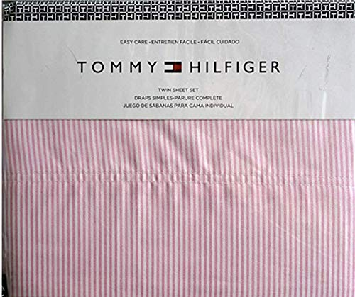 Tommy Hilfiger 4 Piece Queen Size Sheet Set Ithaca Thin Pink White Oxford Stripes ()