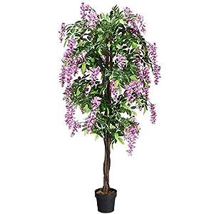 MARJON FlowersArtificial Wistera Plant- Fake Flowers Plant with Plastic Pot, Handmade Decorative Tree, for Home, Restaurant & Office Decor 97
