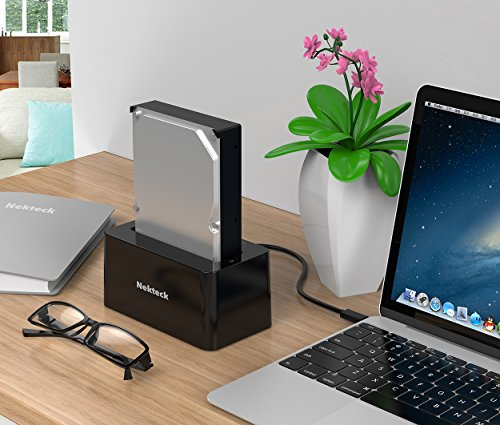 Nekteck USB Type C USB3.1 (USB-C) to SATA 2.5/3.5 Inch External Hard Drive Disk Docking Station Enclosure for for 3.5'' 2.5'' SATA HDD and SSD [Support Up to 8TB] - Tool Free, 1 Bay by Nekteck (Image #5)